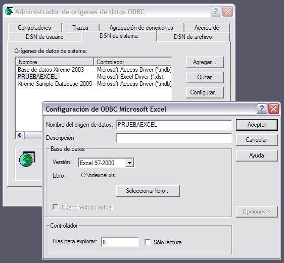 Configuración ODBC Excel