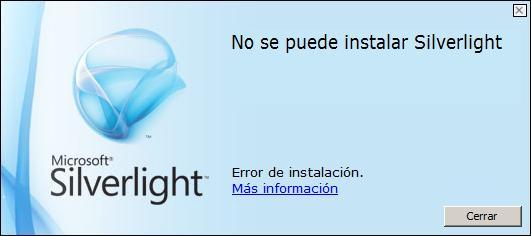 Error Instalación Silverlight 3