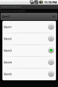 Android Control Spinner (desplegado)