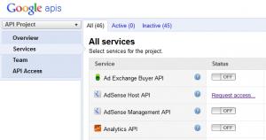 Google API Console - Services