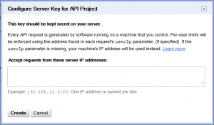 Google API Console - Configure Server Key