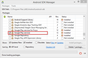 SDK Manager - Google Play Services 2