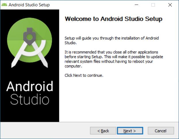 Inicio asistente instalación Android Studio