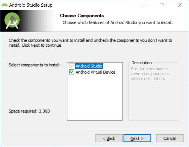 Selección de componentes instalación Android Studio